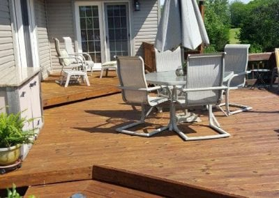 Deck after power washing.