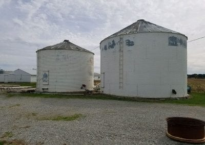 Exterior of silo before painting.
